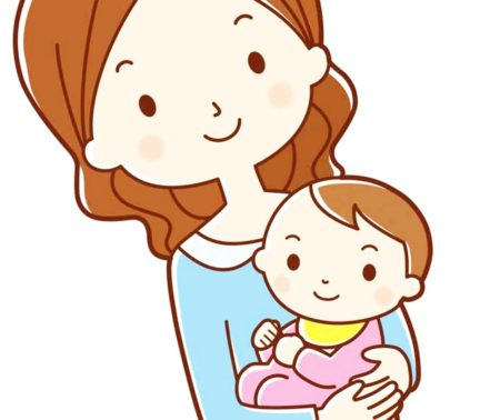 赤ちゃんを抱っこしている女性