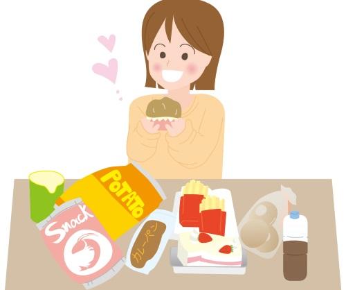 高カロリーのものを食べてしまう女性